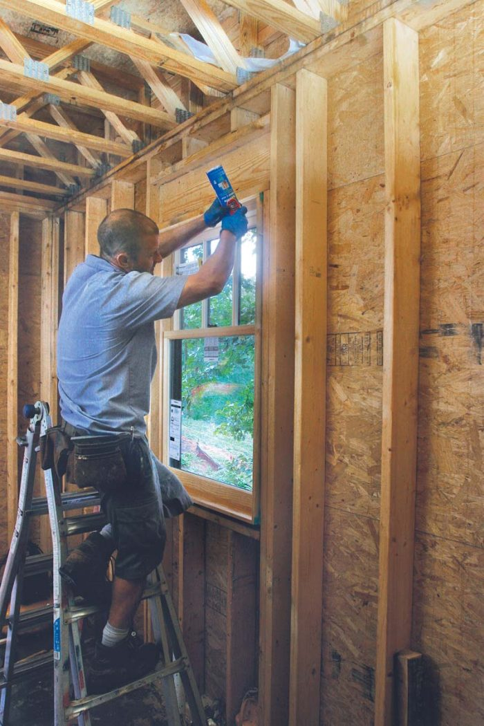 A thin bead of low-expansion spray foam offers limited air-sealing and insulation