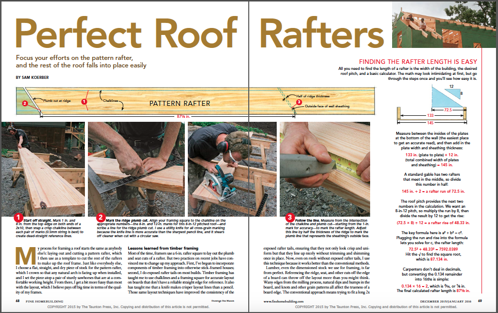 perfect roof rafters magazine spread