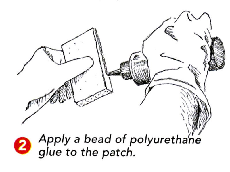 apply glue to the patch
