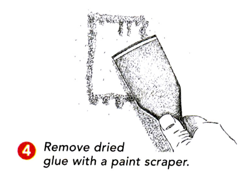 remove dried glue from drywall patch