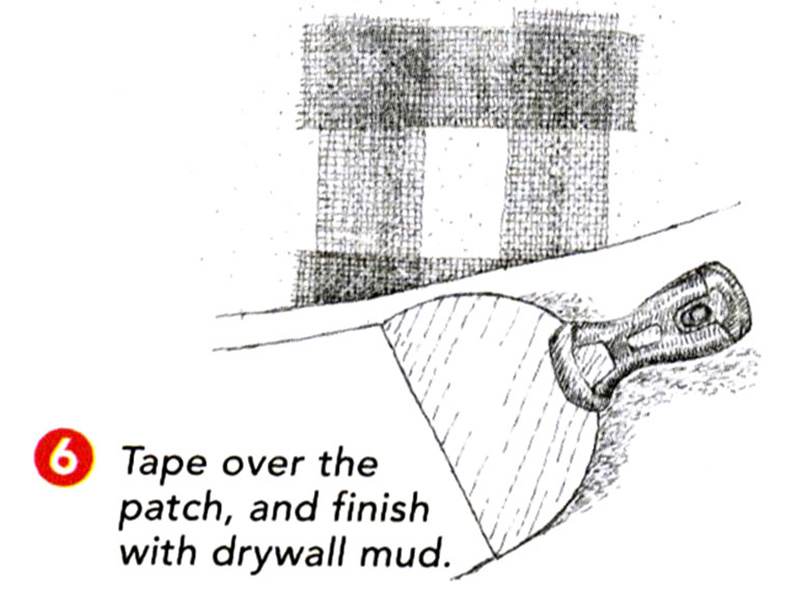 tape and drywall mud patch
