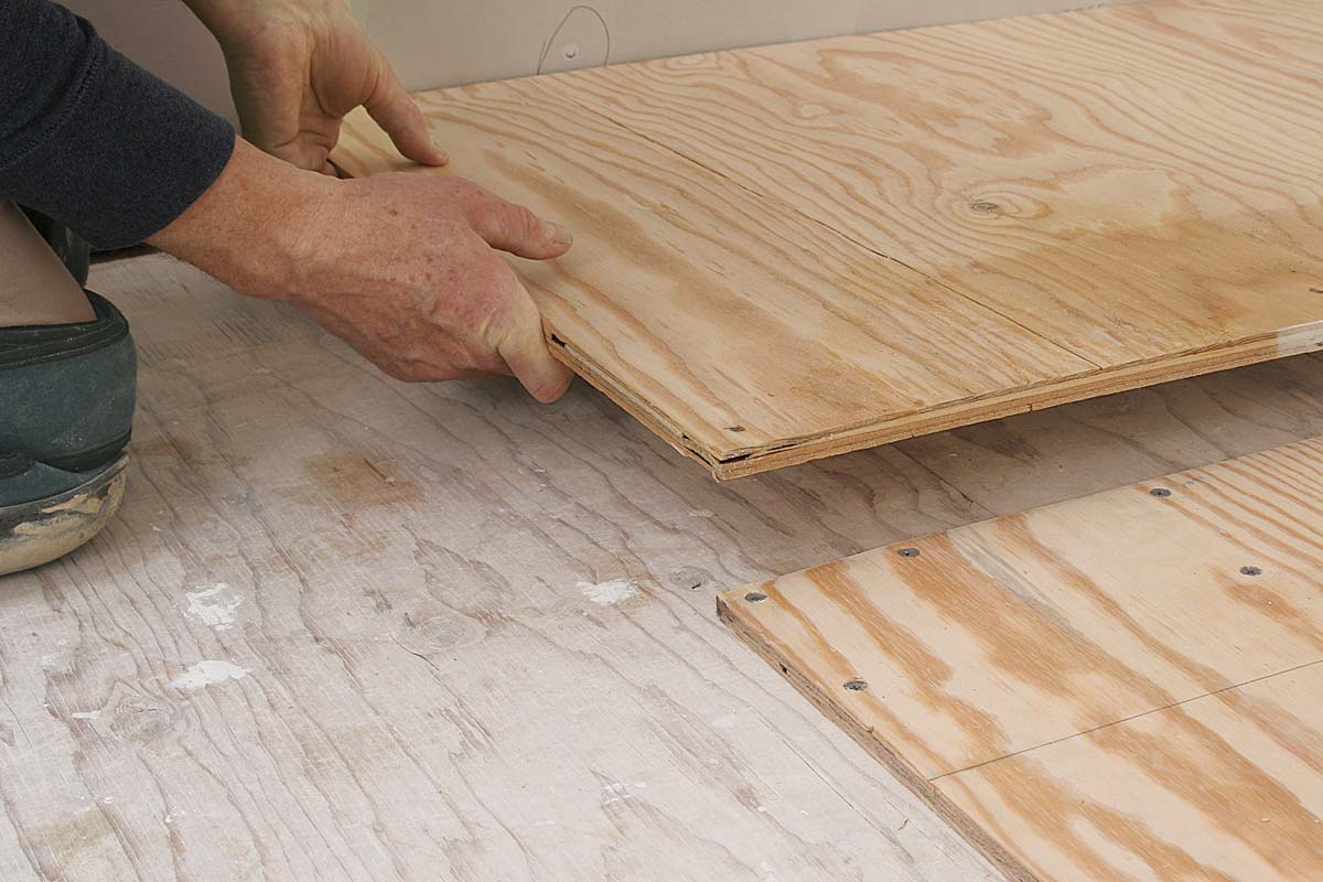 Space underlayment panels 1⁄8 in. from each other and 1⁄4 in. from abutting walls and plumbing fixtures.