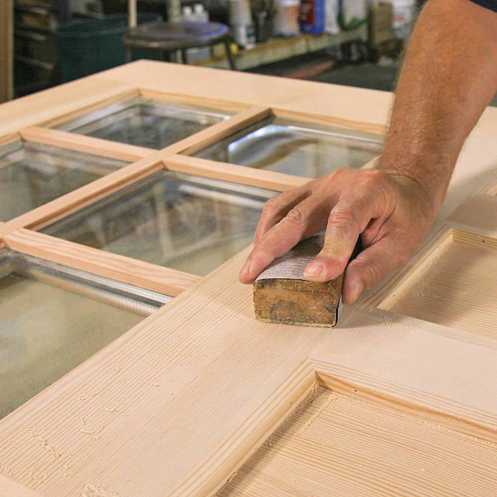 sanding an exterior door
