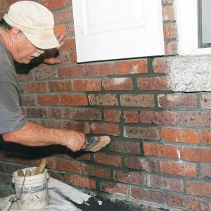 use a soft bristle brush for clean up along the brick