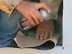 """In cold weather, we apply spray adhesive (also called """"primer"""") to improve the tape's adhesion"""