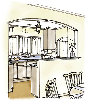 drawing of a small kitchen