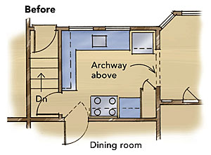 before floor plan of a small kitchen
