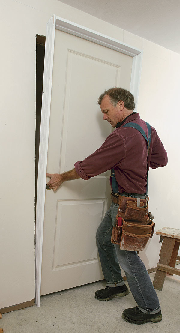 Troubleshooting a prehung door installation fine homebuilding for Hanging interior prehung doors