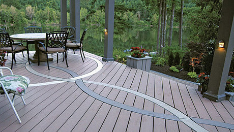 bending synthetic decking for decorative inlays