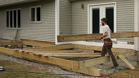 framing a grade level deck