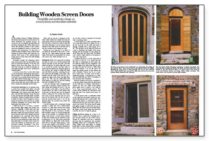 Wonderful The Author, An Architectural Millwork Specialist, Explains His Approach For  Building Traditionally Styled Wood Screen Doors. Mortise And Tenon Joinery  Makes ...