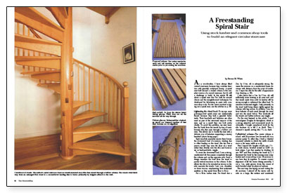 Delightful Synopsis: A Woodworker Describes Construction Of A Free Standing Spiral  Stair Made With A Coopered Central Post, Stair Treads That Slip Into  Mortises, ...
