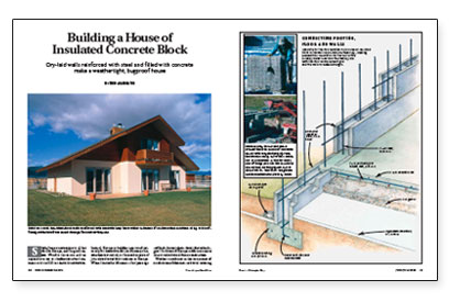 Building a house of insulated concrete block fine for Concrete block construction homes