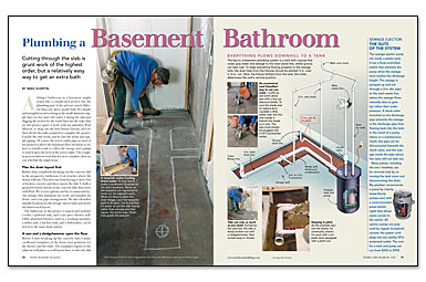 basement bathroom plumbing. Synopsis: Adding A Basement Bathroom Is Just Like Bath Anywhere Else In The House \u2014 Except For Cutting Through Basement\u0027s Concrete-slab Floor. Plumbing .