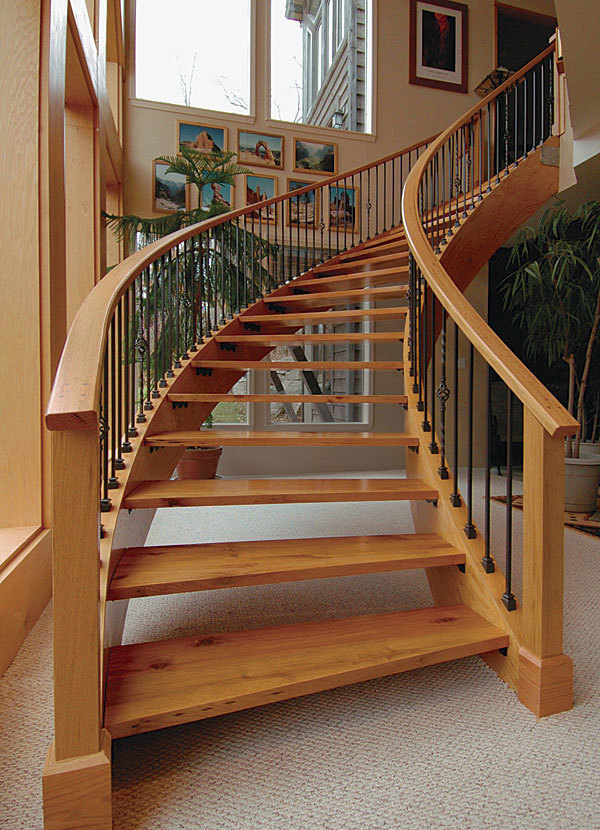 Laminating curved stair stringers fine homebuilding for House plans with curved staircase