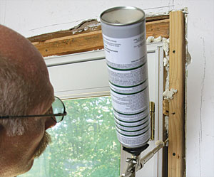 The tiny gap between window and door frames and manufactured sill pans is better sealed with window-and-door caulk rather than foam (see the sidebar in \u201c ... & Air-Seal Windows and Doors - Fine Homebuilding