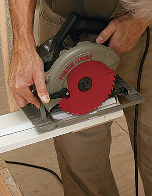 Set the saw to cut the rabbet