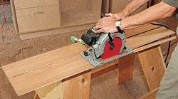Shooting boards are jigs that keep the saw's baseplate from damaging the workpiece