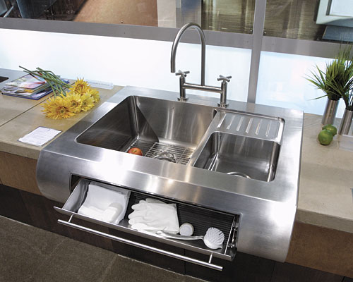 Kitchen Sink Deep A gallery of kitchen sinks fine homebuilding because this sink is extra deep a pull out drawer has extra deep storage compartments the integrated drain board in this sink eliminates the need for a workwithnaturefo
