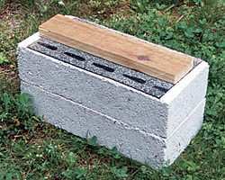 You'll need both 2-in.-thick patio blocks and 4-in-thick solid-concrete blocks to build an on-grade foundation.