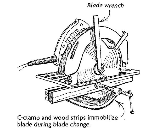 Circular saw arbor lock fine homebuilding if you dont have an arbor lock mechanism on your circular saw a simple operation such as changing blades can be frustrating the drawing shows a simple greentooth Images