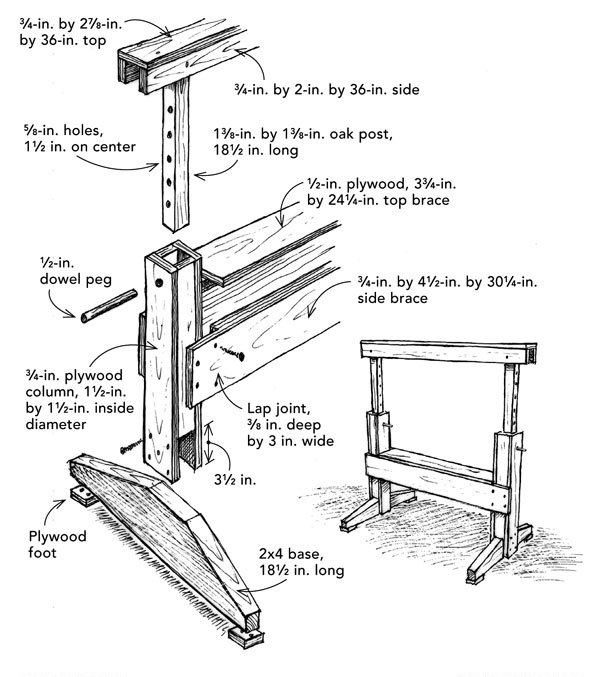 Adjustable Height Sawhorse Fine Homebuilding