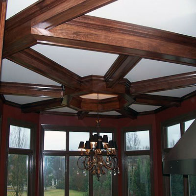Custom Stained, Poplar Coffered Ceiling