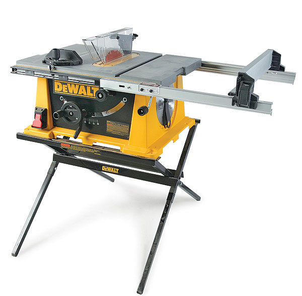Dw744s portable tablesaw review fine homebuilding this portable tablesaw has a solid stand that locks into the saw the stand has slots for tabs on the saw to slip into however setting the saw into the greentooth Choice Image