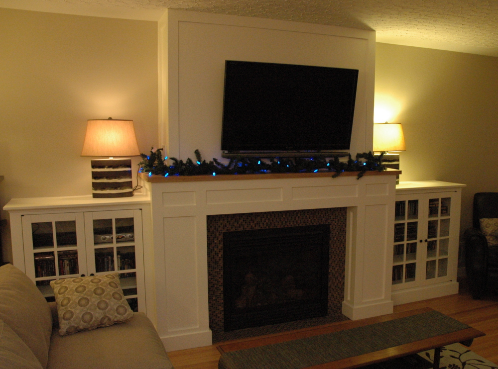 Craftsman Fireplace With Built-in Media Cabinets