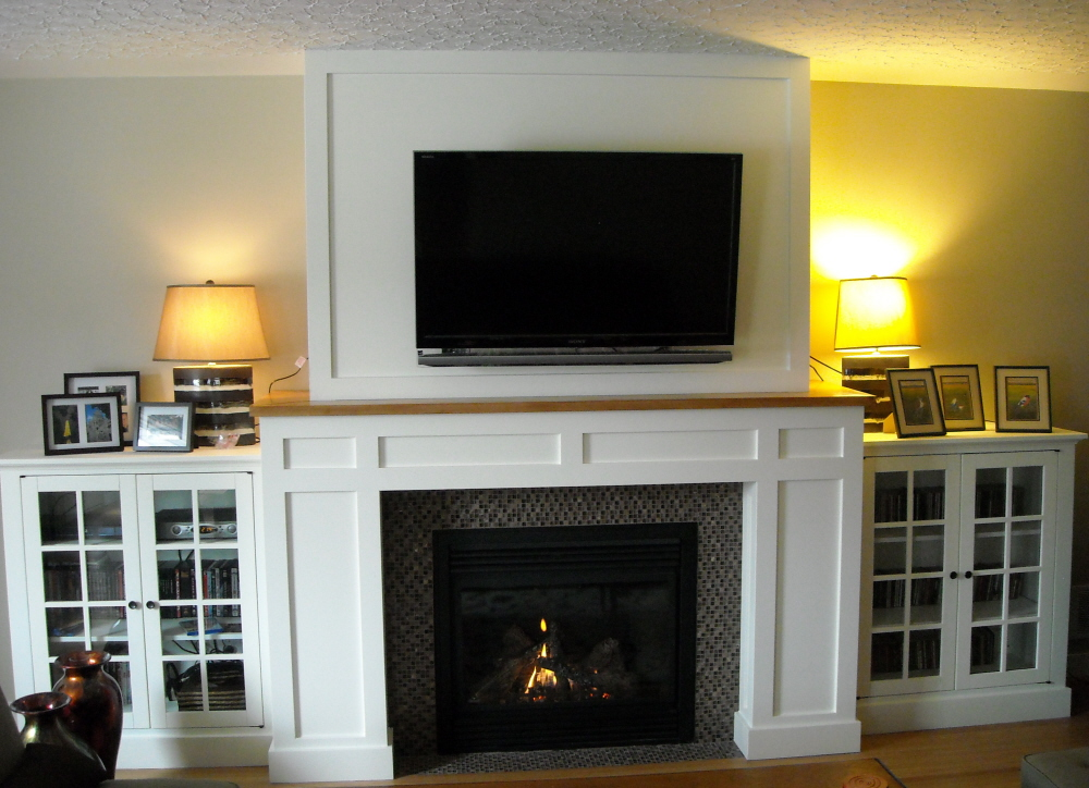 Craftsman fireplace with built in media cabinets fine for Craftsman fireplace designs