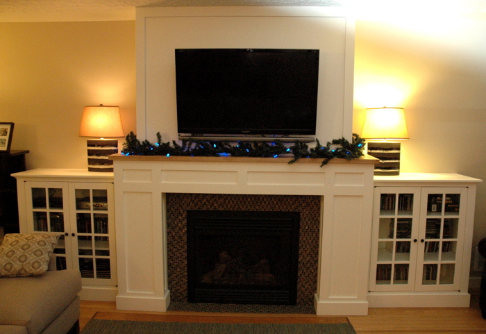 Craftsman fireplace with built in media cabinets fine for Craftsman gas fireplace