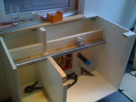 Farmhouse sink into ikea cabinets fine homebuilding i started with a 15 and a 30 ikea case assembled and also glued on all seams and hardware using pl premium cases sit on a 2x6 toekickplinth that is workwithnaturefo
