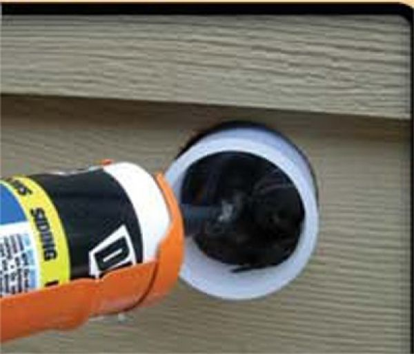 filling Attach-A-Deck cup with sealant