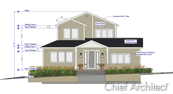 Chief Architect Home Design Software; Elevation View