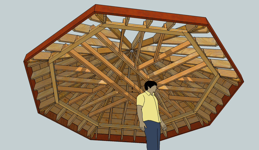 Exploring octagonal roof framing with sketchup fine for Hexagonal roof framing