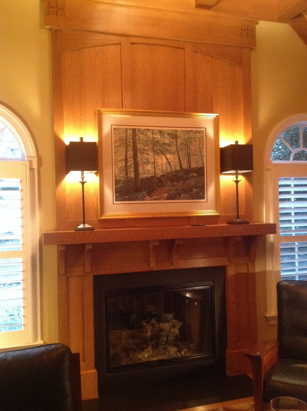 Craftsman Mantel Overmantel And Ceiling Fine Homebuilding