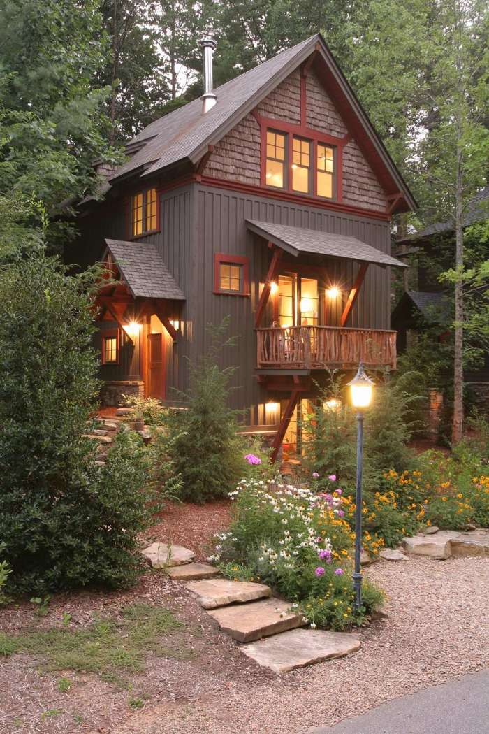 i like the stone with board & batten | Cottage exterior ...