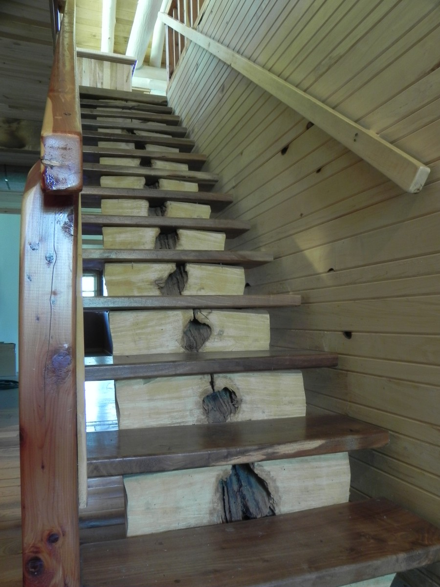 rustic stairway fine homebuilding. Black Bedroom Furniture Sets. Home Design Ideas