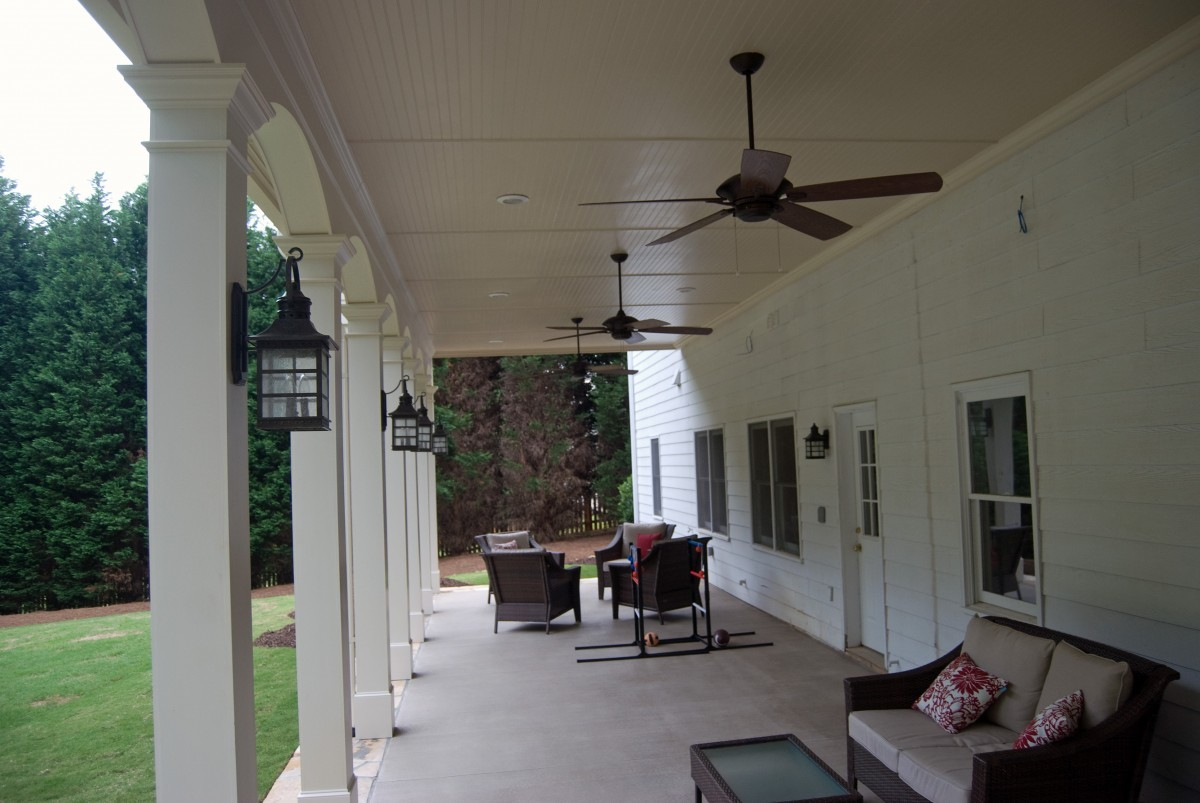 Porch And Deck Combo With Fireplace And Patio In Johns