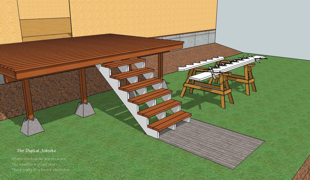 Deck stair layout 101 fine homebuilding for Steps to designing a house