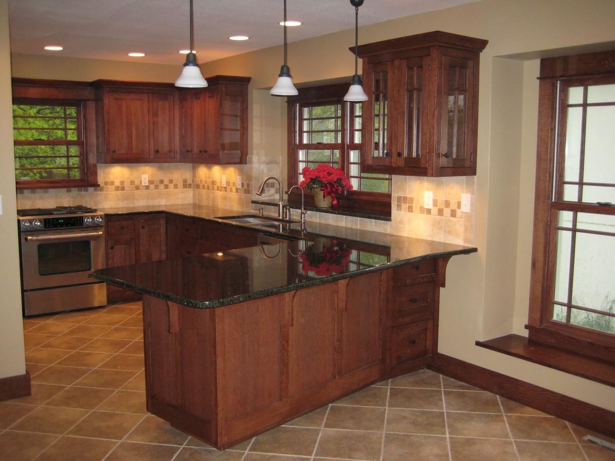 Tone Quartersawn Oak White Cabinets Kitchen
