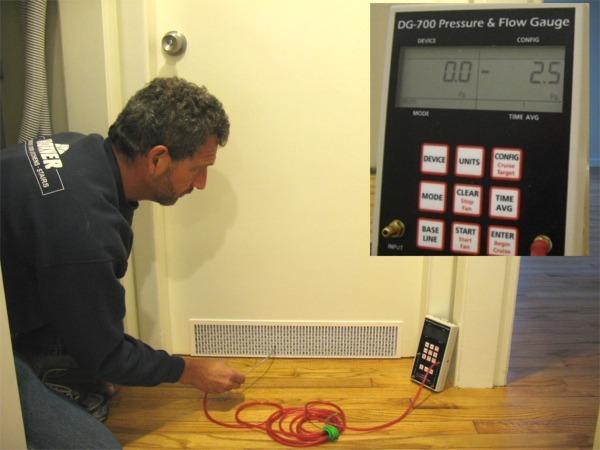 Perfect Balance pressure test shows mimimal pressure difference with door closed. & Indoor Airflow - Perfect Balance vs. Door Undercut - Fine Homebuilding