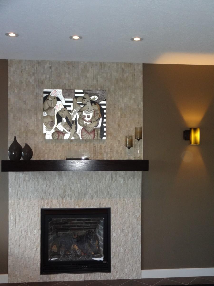 Split Face Tile Fireplace Home Decor