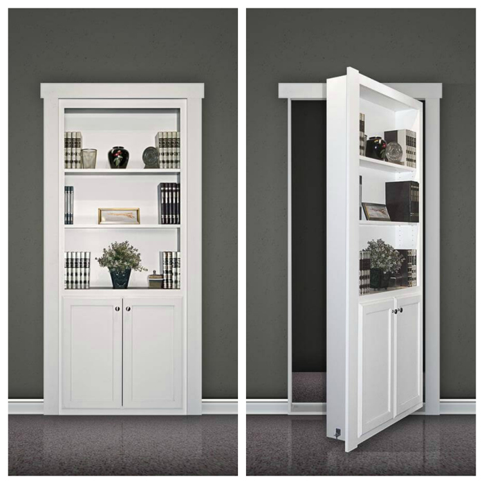 Delightful A Flush Mount Murphy Door Kit Looks Like A Built In Bookcase When The Door  Is Closed