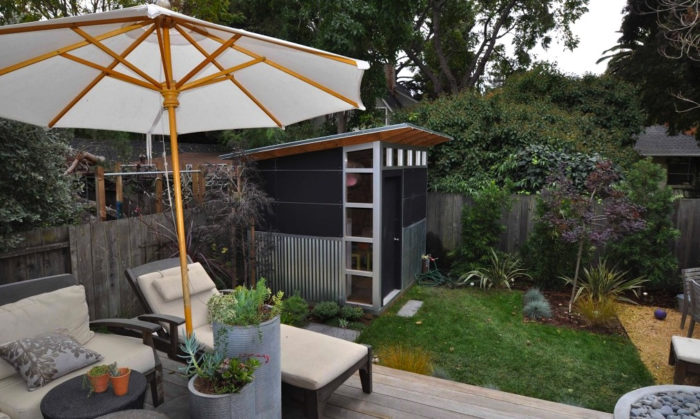 A basic Signature series shed nestles nicely into any backyard or garden.