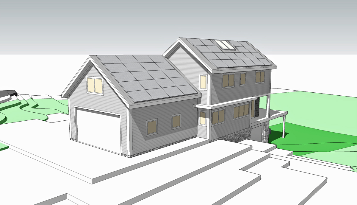 The Single Large Garage Door Facing West Was Not Possible Due To The  Existing Septic Design