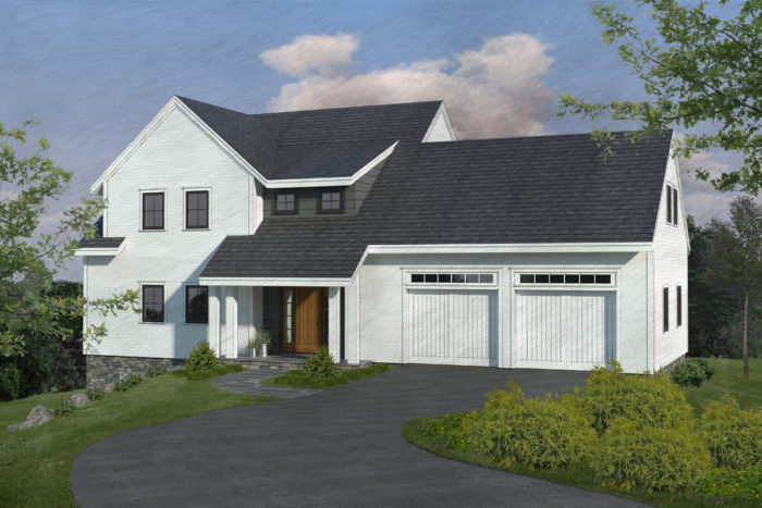 With the garage doors moved to the front of the house, facing north, we could move forward with a reasonable design.