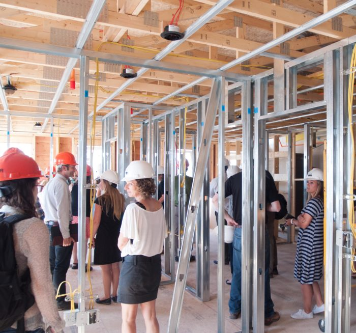 The building, now about one-third complete, was on a recent passivhausMAINE tour.