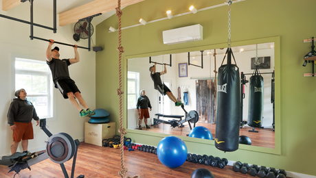 bright and colorful home gym  fine homebuilding