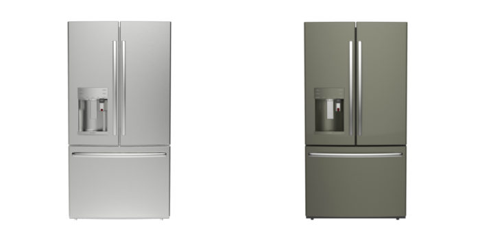 The Cafe series refrigerators are available in a bright stainless steel or a darker slate finish.